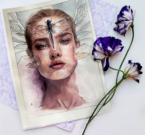 """Girl with a dragonfly"" A4 __Mixed technique watercolors and oil 