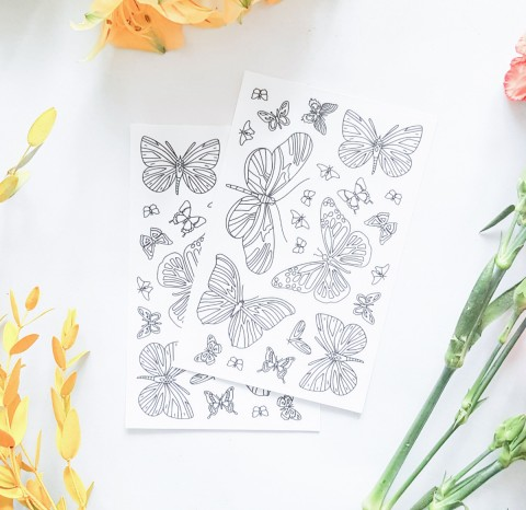 Butterflies Coloring Stickers | Чердак Дали